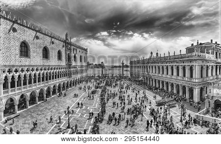 Panoramic Aerial View Of St. Mark's Square, Venice, Italy