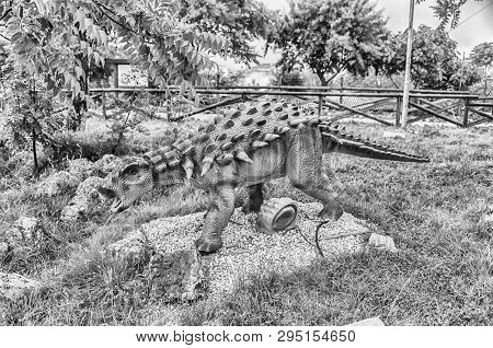 San Marco In Lamis, Italy - June 9: Polacanthus Dinosaur, Featured In The Dino Park In San Marco In