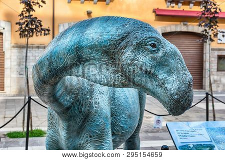 Cosenza, Italy - August 25: Dinosaur Featured  In The Open Air Exhibition Held In Cosenza, Italy, Au