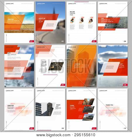 Creative Brochure Templates With Colorful Gradient Geometric Background. Red Colored Design. Covers