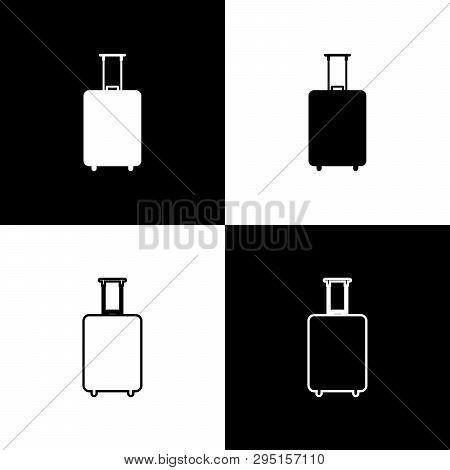 Set Travel Suitcase Icons Isolated On Black And White Background. Traveling Baggage Sign. Travel Lug