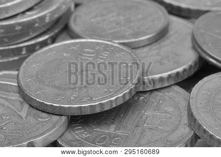 Money Coins Background. Euro Coins With Patina. Selective Focus