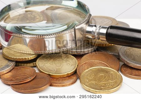 Pile Of Euro Coins Isolated On White Background. Selective Focus
