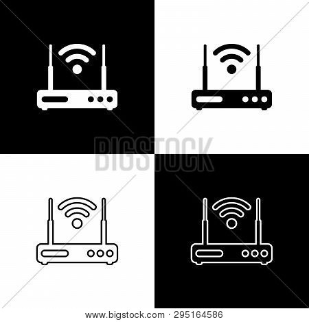 Set Router And Wi-fi Signal Symbol Icons Isolated On Black And White Background. Wireless Ethernet M