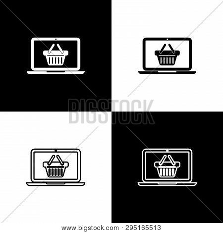 Set Shopping Basket On Screen Laptop Icons Isolated On Black And White Background. Concept E-commerc