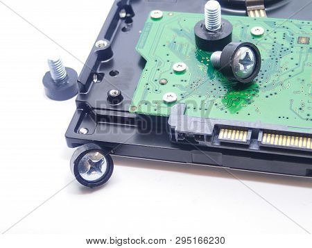 Hard Drive Hard Drive Fixing Bolt Close-up Visible Microcircuit Storage Of Data Data Close-up On Whi