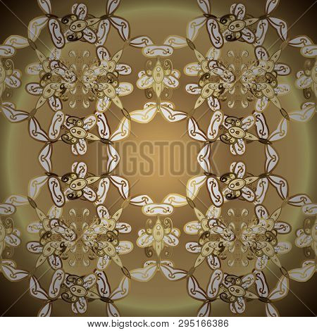 Brown And Beige Colors With Golden Elements. Vector Golden Floral Ornament Brocade Textile And Glass