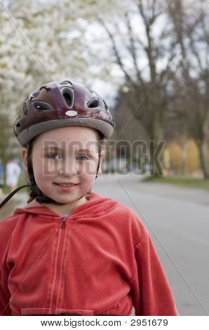 Girl In Bicycle Helmet
