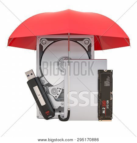 Hard Disk Drive HDD, solid state drive SSD, M2 SSD and USB flash drive under umbrella, protection concept. 3D rendering poster