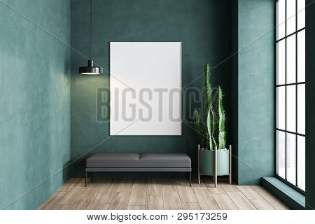 Green Living Room With Bench And Poster