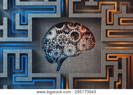 Mechanical brain with cogs and gears inside complicated gray maze. Concept of consciousness work mechanisms. 3d rendering poster