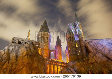 Orlando, Fl, Usa - Jan. 27, 2019: Harry Potter Castle In The Wizarding World Of Harry Potter In Univ