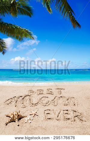 Happy Mothers Day Beach Background With Handwritten Lettering Best Mom Ever