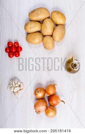 Fresh Vegetables Ingredients On White Wood Background