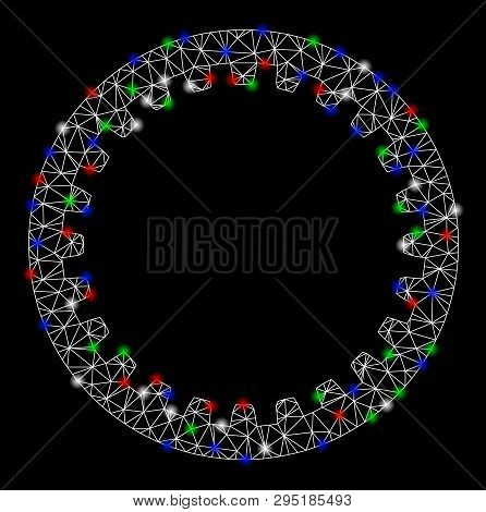 Bright Mesh Annular Gear With Lightspot Effect. White Wire Carcass Triangular Mesh In Vector Format