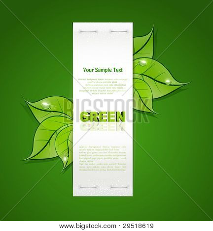 vertical paper strip with green leaves and drops of dew on a green background