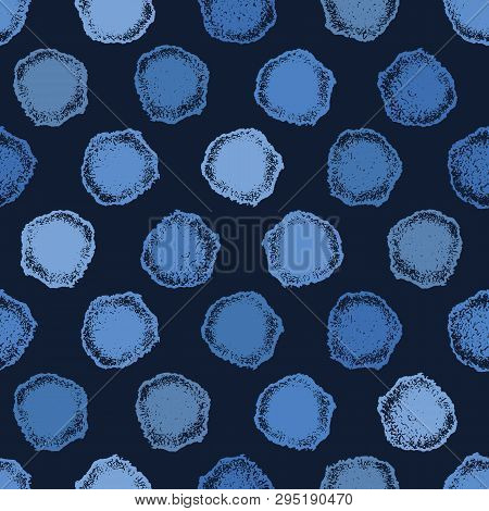 Ndigo Blue Hand Drawn Spotted Polka Dot Circles Seamless Pattern. Sketchy Dotty Vector Illustration.
