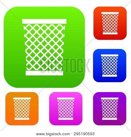 Wastepaper Basket Set Icon Color In Flat Style Isolated On White. Collection Sings Illustration