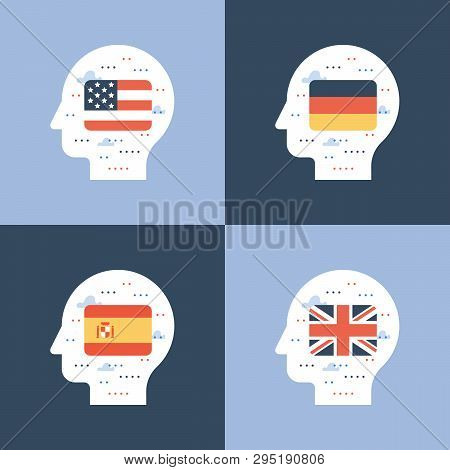 Learning Foreign Language Concept, American And British English, Spanish And German Linguistics Coar