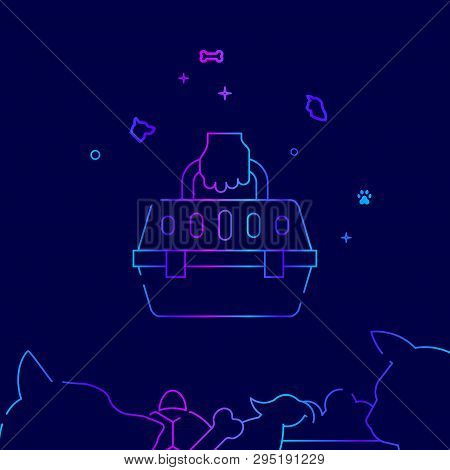 Pet Carrier Vector Line Illustration. Pet Gradient Icon, Symbol Or Pictogram, Sign. Dark Blue Backgr