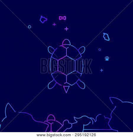 Pet Turtle Vector Line Illustration. Pet Gradient Icon, Symbol Or Pictogram, Sign. Dark Blue Backgro