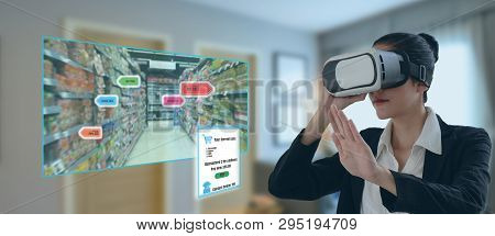 Internet Of Things Marketing Concepts,smart Augmented Reality,customer Use Virtual Glasses To  Order