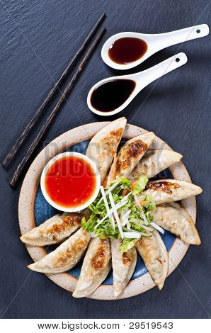 Fried Guotie with dipping sauces