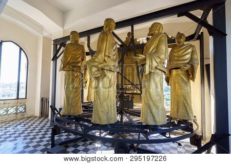 Messina, Italy - November 06, 2018 - Decorations And Interior Golden Elements Of The Bell Tower Of T