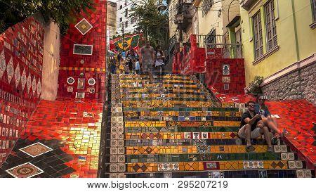 Rio De Janeiro, Brazil- 25, May, 2016: Tourists At Selaron Steps In Rio De Janeiro