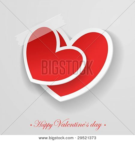 Valentine`s Day card with taped hearts. Vector illustration.