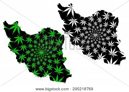 Iran - Map Is Designed Cannabis Leaf Green And Black, Islamic Republic Of Iran (persia) Map Made Of