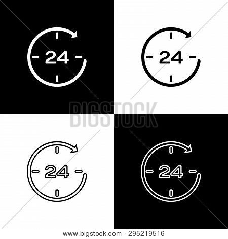 Set Clock 24 hours icons isolated on black and white background. All day cyclic icon. 24 hours service symbol. Line, outline and linear icon. Vector Illustration poster