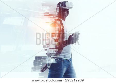 Virtual Reality headset on a black male. Mixed media
