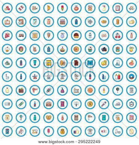 100 Supermarket Icons Set. Cartoon Illustration Of 100 Supermarket Vector Icons Isolated On White Ba