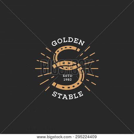 Golden Stable. Two Horseshoes Logo Design. Stylized Letter S. Vector Illustration.