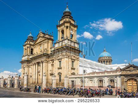Guatemala City,guatemala - March 2,2019 - View At The Metropolitan Cathedral Of Guatemala City. Guat