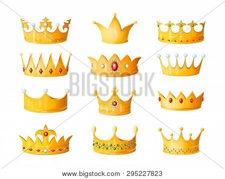 Cartoon Crown. Golden Emperor Prince Queen Royal Crowns Diamond Coronation Gold Antique Tiara Crowni