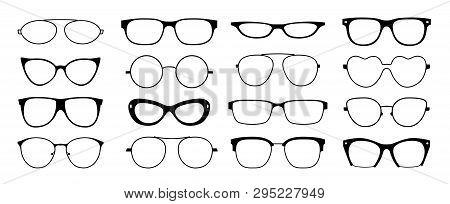 Glasses Frames Silhouette. Hipster Geek Sun Glasses, Optometrist Black Plastic Rims, Old Fashion Sty