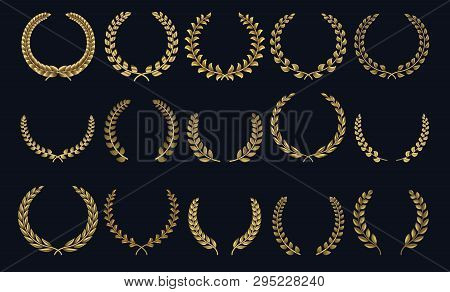 Golden Laurel Wreath. Realistic Crown, Leaf Shapes Winner Prize, Foliate Crest 3d Emblems. Vector Gr