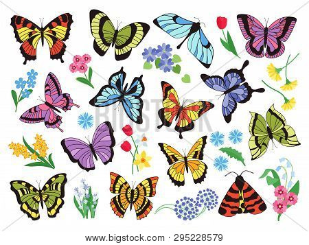 Colored Butterflies. Hand Drawn Simple Collection Of Butterflies And Flowers Isolated On White Backg