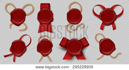 Wax Seal. Realistic Certificate Stamps With Ribbons And Ropes, 3d Medieval Royal Envelope Labels. Ve