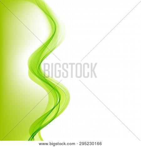 Abstract Green Wavy Lines. Vector Green Wave Background. For Brochure, Website Design