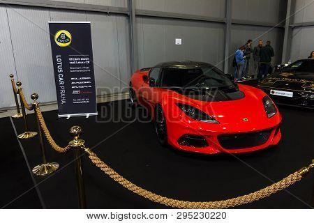 Prague, Czech Republic - April 13th 2019: Lotus Exige Cup 430 At Autoshow Pva Expo Praha Letnany 201