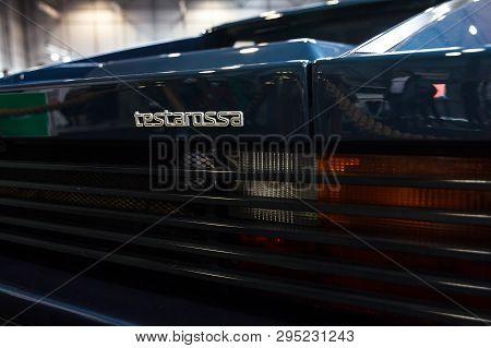 Prague, Czech Republic - April 13th 2019: Testarossa Logo At Autoshow Pva Expo Praha Letnany 2019.
