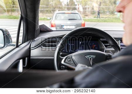 Prague, Czech Republic - April 13th 2019: Man Drives Tesla At Autoshow Pva Expo Praha Letnany 2019.
