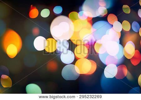 Bokeh Light, Shimmering Blur Spot Lights On Beige Abstract Background.