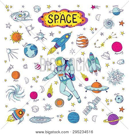 Doodle Space. Cosmos Trendy Kids Pattern, Hand Drawn Rocket Ufo Universe Meteor Planet Graphic Eleme