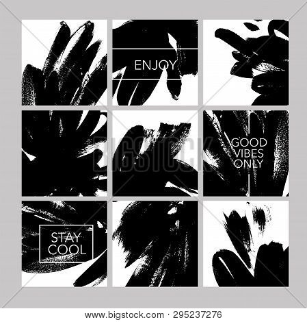 Vector Black Paint Brushstrokes Hand Drawn Illustrations Set. Collection Of Social Posts. Grunge Ink