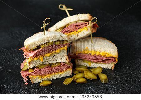 New York pastrami, gherkins and sourdough bread deli sandwich poster