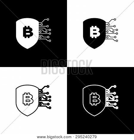 Set Shield With Bitcoin Icons On Black And White Background. Cryptocurrency Mining, Blockchain Techn